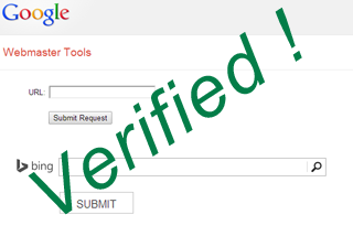 Adding and verifying website to popular search engines
