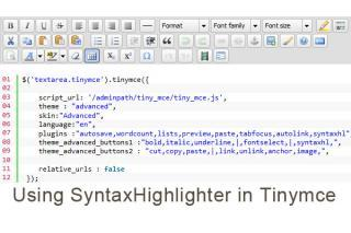 Using Syntax highlighter in Tinymce with syntaxhl